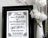 Please Sign Our Guest Cookbook - Alternative Guest Book- Wedding Sign - Single Sheet (Style: GUEST COOKBOOK)