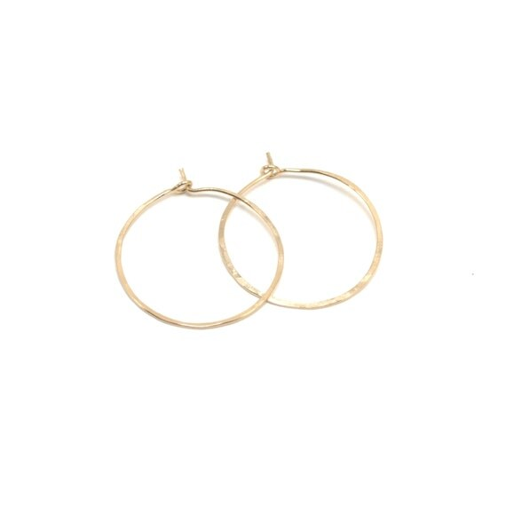 Small Gold Hoops - Hammered or Smooth - Yellow or Pink Gold