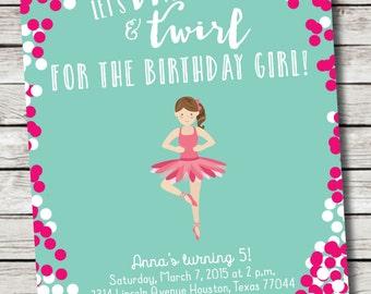 Ballerina /// Dance Birthday Invitation