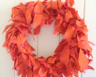 Orange dupion silk wreath