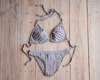 Crochet bikini, Sexy bikini, Crochet bikini set, Crochet swimsuit, Swimwear, Beige bikini, Lace bikini, Womens clothing