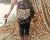 SweetSongs~ Wrap SKIRT-upcycled with crocheted Doily Pocket-feminine-beautiful-BOLD