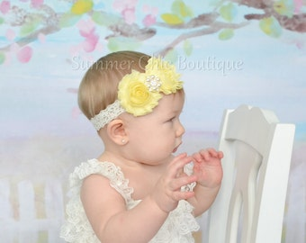 Light Yellow Baby Headband, Infant Headband, Newborn Headband, Girls Headband, Light Yellow Shabby Chic Headband on lace, Easter Headband