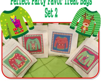 "Ugly Christmas Sweater Party Treat Favor Gift Bags Small Mini 6"" Natural Cotton Totes Perfect for Adults Kids Children Bags - Sets of 4 or 8"
