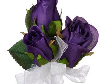 Purple Silk Rose Corsage - Wedding Corsage Prom