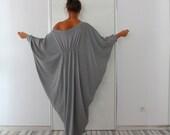 Long Grey Maxi Dress, Abaya Dress, Cotton Knit Cocoon Dress, Plus Size Dress, Plus Size Clothing, Sizes 1X through 4X