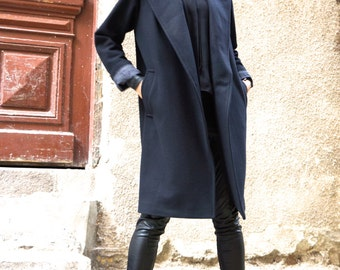 NEW Winter Cashmere  Lined Black Coat / Side Pockets and  Belt / Wool  Coat / Wool Cashmere Blend Jacket A07161