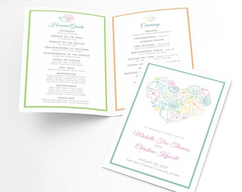 items similar to preppy and elegant wedding program template customized pdf to print at home on. Black Bedroom Furniture Sets. Home Design Ideas