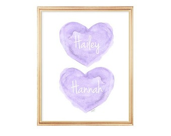 Gift for Sisters, Twin Girls Nursery Art, Twins Shower Gift, Purple Nursery Art, Twins Nursery Art, Twin Sisters, Lavender Nursery, Baby Art