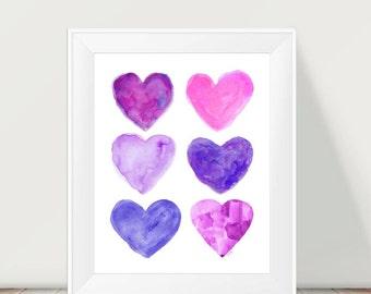 Purple and Pink Art, 11x14 Watercolor Print, Hot Pink and Purple Girls Decor, Playroom Decor, Girls Room Decor, Hot Pink Girls Decor
