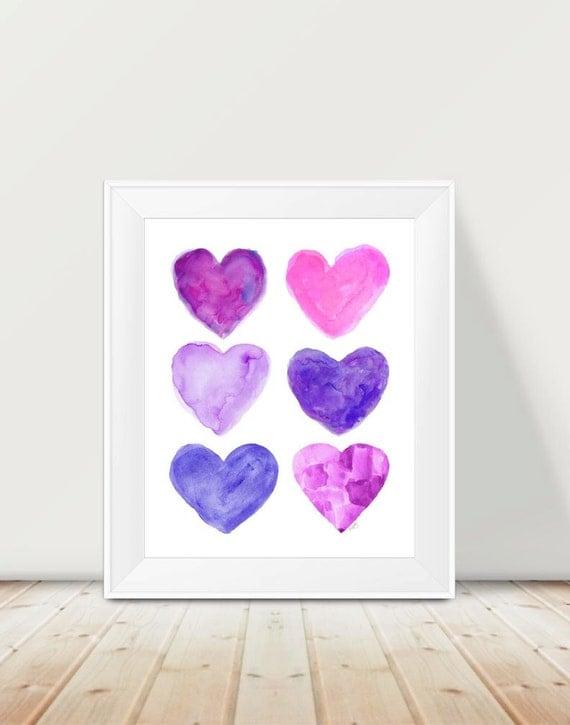 Purple and Hot Pink Girls Decor, 11x14 Hearts Print
