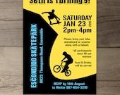 BMX Party / Skate Park Birthday Party Invitations / Skateboard / printable