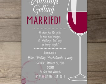Wine glass invite | Etsy