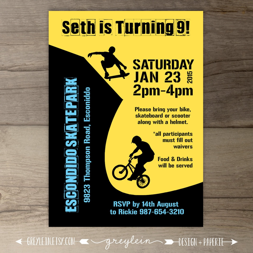 BMX Party / Skate Park Birthday Party Invitations / Skateboard