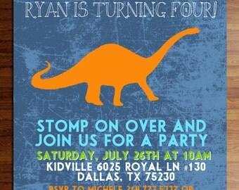 Custom Printed Dinosaur Party Invitations, bright colors, birthday