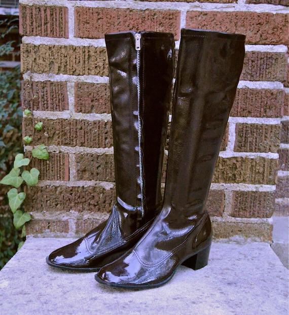 vintage 1960s brown go go boots