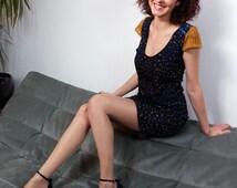 Waisted Dress / Short Sleeve Lace / bright blue ribbon.11015