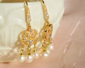Pearl Chandelier Earrings, Pearl Dangles, Gold Earrings, Ivory Pearls, Bridal Earrings, Boho Wedding, Champagne Pearls, Rhinestone Earrings
