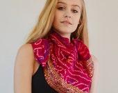 Deep Pink Silk Scarf, Square Sequin Scarf, Indian Silk, Vintage Sari Scarf, Gypsy Boho Tribal Fashion, Tie Dye Scarf, SIlk Bandana