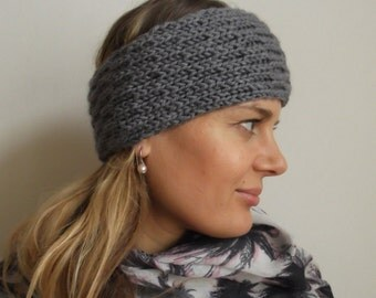 Hand knit grey merino wool headband
