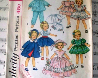 """1950s Simplicity Shirley Temple Doll's Wardrobe Pattern - Cut Complete - 3217 - Size 19"""""""