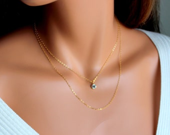 Gold Filled Necklace Minimalist Simple Delicate Doubler layerNecklaces Swarovski Crystal Pendant