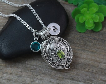 Sterling silver Locket necklace, Perfume OR Pills Box Necklace, Genuine Peridot Stone, Wish box, Choose initial birthstone, 6 bt
