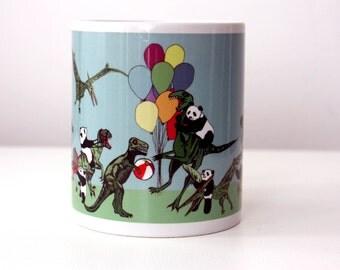Dinosaur and Panda Mug Jurassic Park Mug Jurassic World Mug