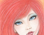 """Ice and Fire - ACEO Limited Edition Print, colored pencil drawing, portrait, red hair, 2.5 X 3.5"""""""