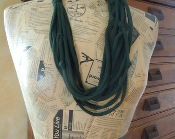 Dark Green Eco Friendly T-Shirt Scarf, Handmade Green Shredded Jersey Infinity Scarf, Recycle Circle Scarves #0001