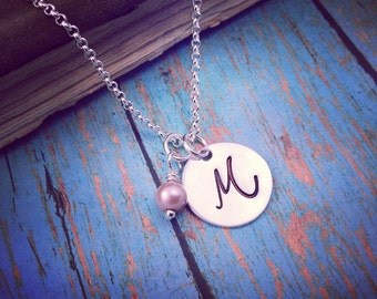 Fancy Initial Necklace, Your Choice of Pearl, Graduation Necklace, Bridesmaid Gift, Wedding Jewelry, Monogram Jewelry, Pearl Necklace, Grads