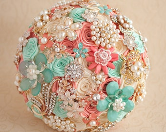 Crystal Brooch bouquet. Coral, Mint and Gold wedding brooch bouquet, Jeweled Bouquet.