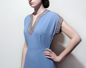 40's Holt Renfrew Sequined Crepe Gown Periwinkle