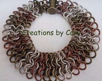 PDF only. European 4 in 1 chain maille bracelet pattern tutorial