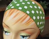 Polkadot Headband Large & Small White Dots - 100% Cotton - Green