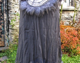 OOAK Gatsby in Grey charcoal silk wearable art top with detachable jewellery size 10-12