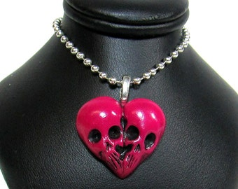 Pink Skull Heart / Till death do us part / skull jewelry / morbid love gift / Sculpted Pendant / Polymer clay / gothic jewelry/ horror