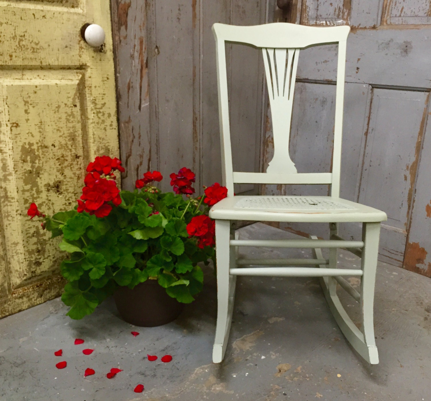 Vintage rocking chair sewing rocker porch decor by vintagehipdecor