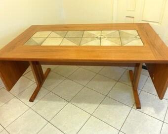 Teak And Tile Top Drop Leaf Dining Table Danish Modern