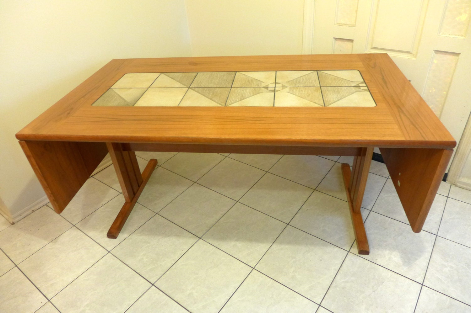 Teak And Tile Top Drop Leaf Dining Table Danish Modern