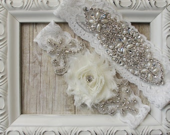 Customize Your Garter Set - Vintage Wedding Garter Set with a Rosette and Rhinestones on Comfortable Lace, Crystal Garter Set, Prom, Wedding