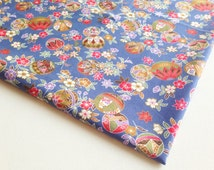 Blue Tradition Japanese Ball Bell, Kimono Fabric by the yard, Sakura fabric, Lady Blouse, Pillow cover, Gold Sakura, Jewellery Bag, KM042,