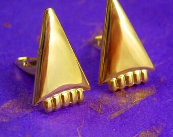 Industrial Cone Cufflinks Vintage Arrowhead Point Unisex Geometric Cuff link mens cool gift geek Jewelry arrow