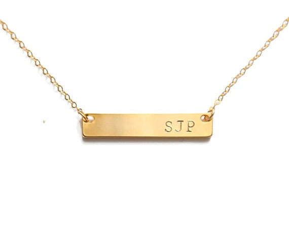 personalized gold bar necklace engraved initial horizontal
