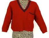 SALE Knit Red and Green Crop Christmas V-Neck Sweater