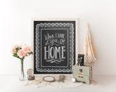 Home Print - Home Art - Lace Illustration - Chalk Art - Hand Drawn Art - Typography Print