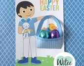 Witee Easter Basket Card - Black Hair Boy (Free Easter Tag)