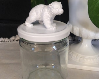 Recycled Glass Jar - Polar Bear Cub in Bright White