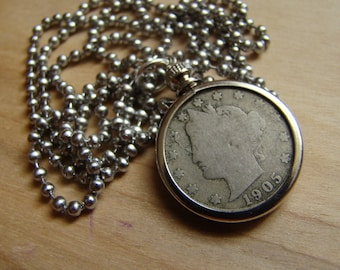 1905 Liberty Nickel Necklace with Stainless Steel Ball Chain