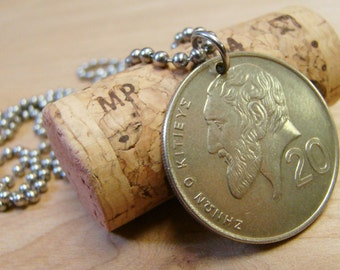 1991 Cyprus Coin Pendant with Stainless Steel Ball Chain - Reversible